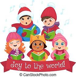 Caroling kids composition