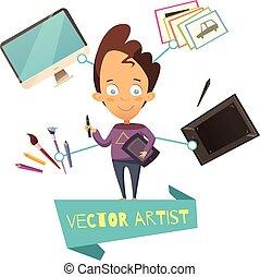vector, profesión, caricatura, Ilustración, artista