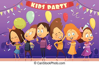 Kids Party Illustration - Merry kids dancing and playing at...