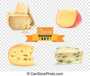 Cheese 4 Realistic Images Transparent Set - Best quality...