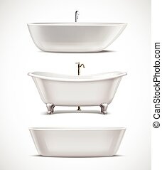 Bathtubs Realistic Set - White bathtubs of different style...