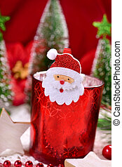 christmas decoration with red glass candlelight