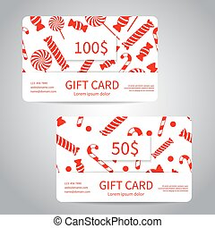 Merry Christmas gift card or discount card set with red gift...