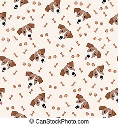 Jack Russell Terrier Vector Seamless pattern. Dog, bone, paw...
