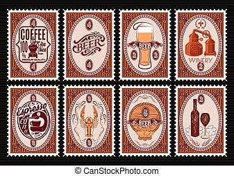 vector set of postage stamps Template with various drinks