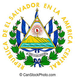 El Salvador coat of arms, seal or national emblem, isolated...