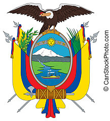 Ecuador coat of arms, seal or national emblem, isolated on...