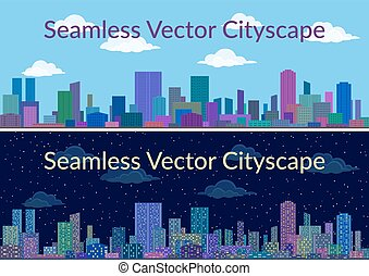 Night and Day City Landscape - Horizontal Seamless Urban...
