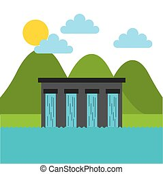 ecology and Green idea design - water dam over landscape....