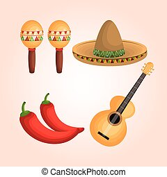 mexican culture set icons