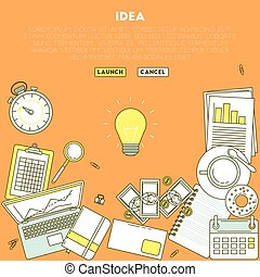 Lamp idea illustration. Business analytic illustration with...