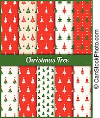 Vector set of patterns with Christmas trees. - Collection of...