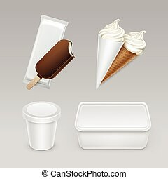 set of Popsicle Ice Cream Waffle Cone with Box - Vector set...