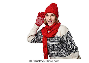 Woman in winter warm clothing listening gossip - Happy...