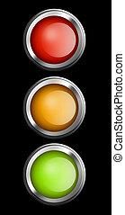 Semaphore - Red, yellow and green lights, Semaphore...