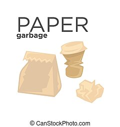 Crumpled paper garbage in rubbish bin. Recycle trash concept...