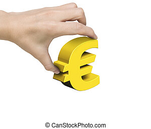 Woman hand holding golden Euro symbol, isolated on white...