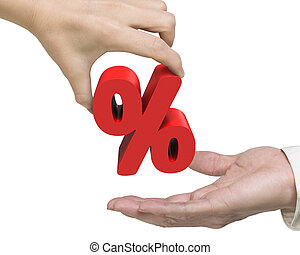 Woman hand giving percentage sign to man hand - Woman hand...