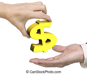 Woman hand giving golden dollar sign to man hand, isolated...