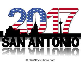 San Antonio skyline 2017 flag text illustration