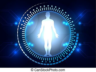 abstract technology with body concept design. illustration vector design