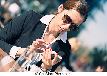 Woman using business social network - Young woman using...