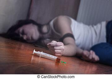 Syringe with drugs