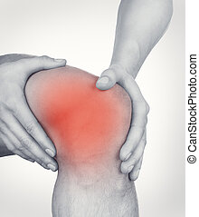 Acute pain in knee - Man with pain in the knee isolated on...