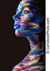 Body art - Young woman with colorful makeup and body art on...