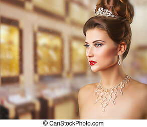 Queen - Portrait of a beautiful woman with makeup and...
