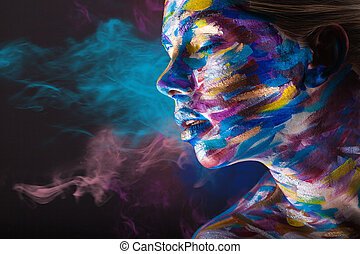 Body art - Young woman with colorful make-up and body art on...