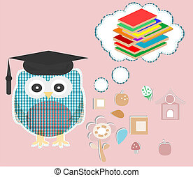 Owl reading book. Education concept