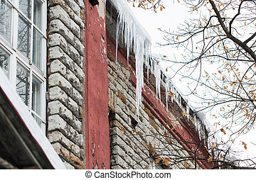 icicles on building or living house facade - season, housing...