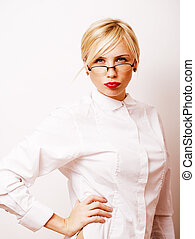 very emotional businesswoman in glasses, blond hair on white...