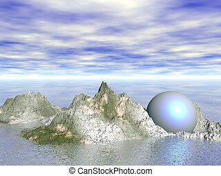Abstract - Sphere on rocks CGI