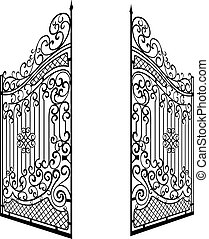 Isolated Decorated Steel Open Gates Illustration. Black and White