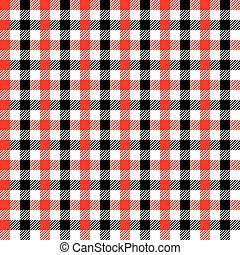Seamless Red and Black Gingham Pattern Background