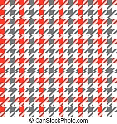 Seamless Red and Grey Gingham Pattern Background