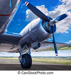 propeller of an aircraft against the sky