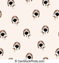 Jack Russell Terrier Vector Seamless pattern. Dog with big...