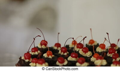 sweets cakes, cake with hot chocolate cherry cake holiday...