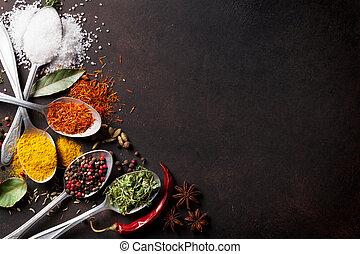 cucharas, tabla, piedra, especias, vario