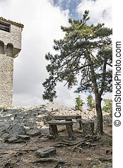 Place for rest close to Cesta fortress in San Marino. -...