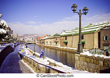 Otaru canal in winter - Canals in Otaru, Hokkaido, north of...