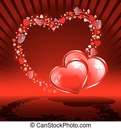 Red background with set hearts