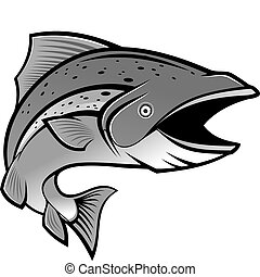 Fishing symbol - Fish as a fishing symbol isolated on white