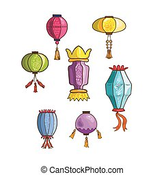 Colorful Chinese lights and lanterns different shapes and...