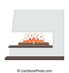 Home fireplace with fire. Vector Illustration. Flat icon...