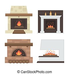 Vector set of home fireplaces with fire. Different...