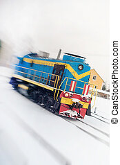 Locomotive with an internal combustion engine. In motion.